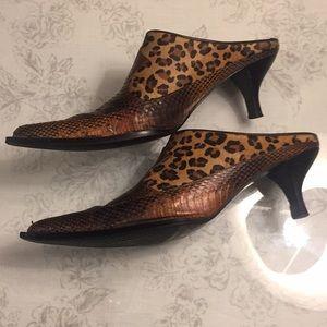 J Renee snake,  cheetah leather slip on shoes